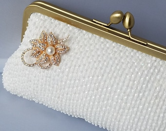 Gold Bridal Clutch, Ivory Bride Clutch, Gold Bag, Beaded Bridal Purse, Beaded Wedding, Gold Bridesmaid, Evening Bag {Beaded Bride Kisslock}