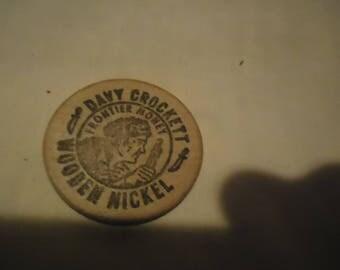 Vintage Davy Crockett The Alamo San Antonio Wooden Nickel Token, collectable