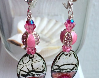 Pink Zebra Bling Earrings