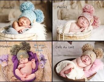 Crochet Double Pom Pom Baby Hat, Newborn Photo Prop, Newborn Pom Pom Hat, Baby Hat, Crochet Pom Pom Hat, Newborn Photography Prop, Boy, Girl
