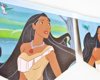 POCAHONTAS Banner Little Golden Book Vintage Bunting storybook Children disney princess story book Decoration birthday party decoration