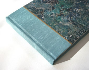 Guest Book - Blue Cloth with Hand-decorated Paper