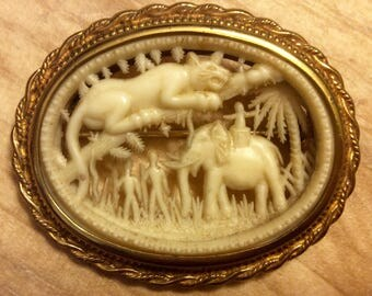 Vintage Carved Celluloid Scenic Pin Jungle Scene Lion Elephant Natives Coro Brooch French Ivory 1940's