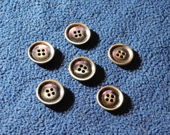 "Vintage Burnished Brass 3/4"" 4-hole Buttons --  6pcs   (B521)"