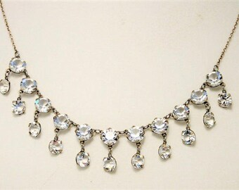 Vintage open back crystal necklace. Dainty necklace