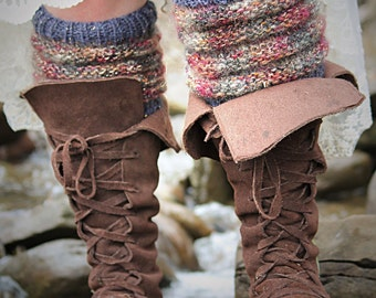 Hand Knit Pair of Leg Warmers Boot Toppers Slouchy Socks in Gray and Rose Metallic Ready to Ship