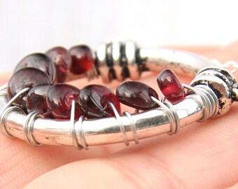 Boho Jewelry January Birthstone Necklace Garnet Necklace Wire Wrapped Garnet Crystal Necklace Sterling Silver Chain January Birthday Gift