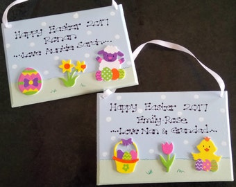 Personalised Childrens Easter Chick Thankyou Egg Alternative Decor Gift Plaque
