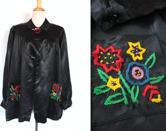 Vintage 1930's Satin Blouse // 30s 40s Black Satin Bed Jacket with Floral Embroidery // Hungarian Floral Smock Blouse with Pink Button