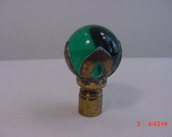 Vintage Green Glass Marble Lamp Finial  17 - 426