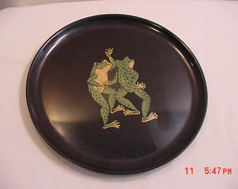 Vintage Couroc Of Monterey Dancing Frogs Plate  17 - 665