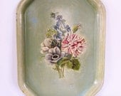 Vintage Enamel Tray, Hand Painted Metal Tray, Green Floral Tray