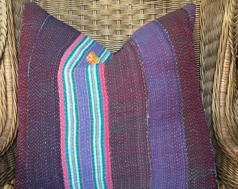 Large decorative Purple and Pink Pillow created usingVintage Kantha Quilt