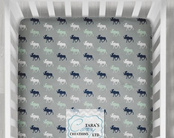 MINKY Moose Crib Sheet- Designer Crib Sheet - Navy Mint Moose Minky Crib Sheet  - Change Pad Cover-Gray Mint Navy Sheet- Moose Crib Bedding-