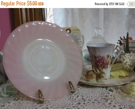 ON SALE Vintage Fire King Pink Swirl Saucer-Mint