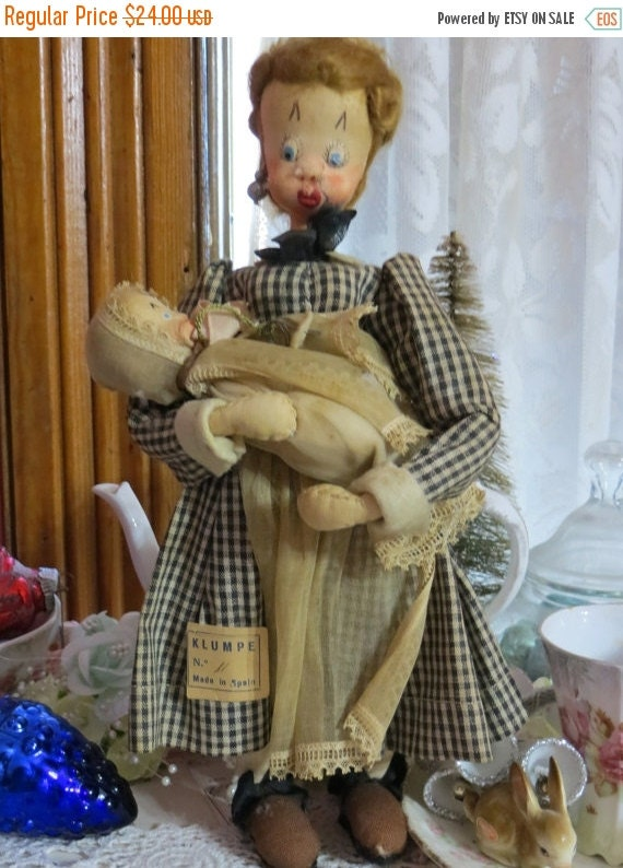 ON SALE Vintage KLUMPE Doll from Spain-Original Tag-Mother and Baby-12 inch