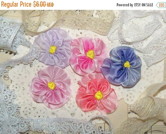ON SALE Handmade Violets from French Ombre Ribbon-Silk Ribbon Embroidery-Set of 5