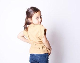40% Limited time SALE  - Children's Vintage 70s Girls Butterscotch Safari Belted Shirt / Vintage Kids Tops / Kids / 70s Vintage / 2405