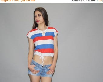 40% Limited time SALE  - Vintage 70s Red White and Blue Striped  Crop Top T Shirt  - Vintage 1970s  Top  - Vintage 70s Tops  -  Wz0626