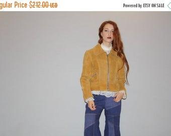 40% Limited time SALE  - Vintage 1960s Honey Mustard Tan Golden  Suede Coat - Vintage 60s Suede Coats - Brown Suede Coat - WO0720
