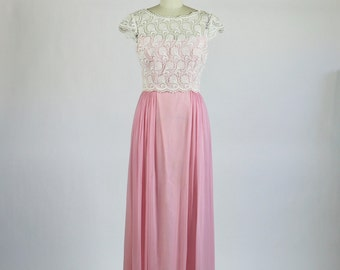 Vintage 1950s Dress / 1960s Dress / 1950s Gown / Pink Dress Lace Dress / Party Dress Evening Gown Sheer Illusion Dress Prom
