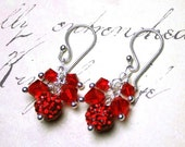 ON SALE Siren Red Crystal Ball Earrings - Swarovski Crystal in Light Siam Red with Sterling Silver - Pave Crystal Balls - Free Shipping