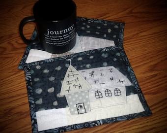 Folk art Mini Quilted Mug Rug, country Church mug rug , large coaster, snack mat