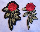 Embroidered Red Rose Iron On Patch, Rose Iron On Patch. Rose Patch, Iron On Patch, Rose Applique