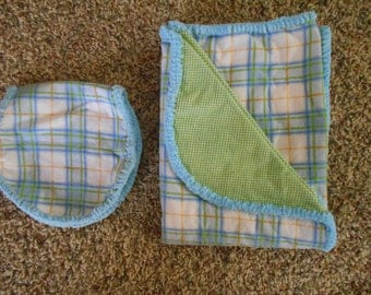 Hem Stitch Unisex Baby - Blue and Green Plaid Flannel Receiving Blanket and Burp Cloth