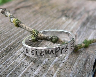10 dollars off: Custom Sterling Silver Hand Stamped Ring - choice of 12 fonts