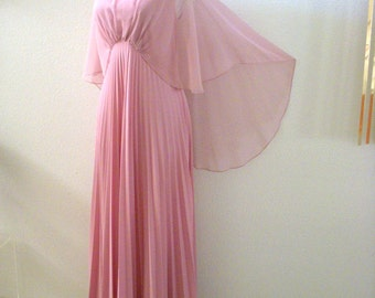 Vintage 1970s Rose Pink Prom Dress with Chiffon Cape - Accordion Pleated 70s Dusty Rose Maxi Party Dress with Capelet - Size Large estimated
