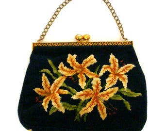 Vintage 1950s Navy Blue and Ocher Petit Point Purse - Navy Blue Floral Needlework Hand Bag - 50s Blue Purse