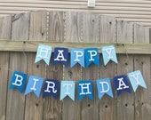 Blue Happy Birthday Banner//1st Birthday//Boy Birthday Banner