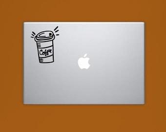 New! - COFFEE CUP VINYL Decal, To Go Coffee Laptop Decal, Illustrated Decal, Computer Decal, Vinyl Sticker