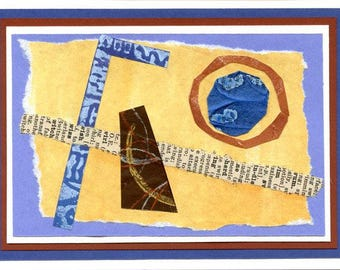 Mixed Media Art Card Handmade Hand Painted Greeting Card Note Card Abstract Original Collage Blue Tan Brown Geometric Blank Inside