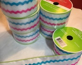 Easter White burlap with pink and blue rick rack stripes 2.5 inches wide each roll is 25 ft long
