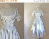 25% off SALE vintage 1950s/60s prom dress - ICY MINT pale green satin wedding dress / Xs-S