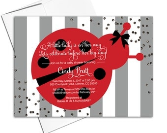 ladybug baby shower invitation for a girl gray red black little ladybug invitation theme
