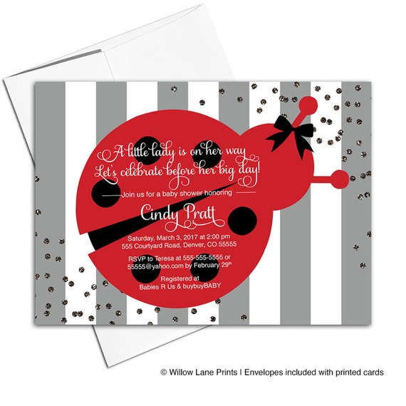 Ladybug Baby Shower Invitation For A Girl