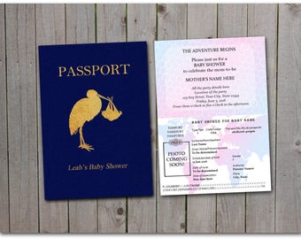 Printable Baby Shower Passport - 5x7 instant download - Stork, baby shower, gender reveal party - Custom passport - Template