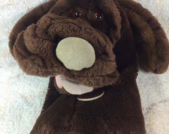 1984 Wrinkles Dog Hand Puppet Chocolate Brown Ganz Bros 80s Kids Toys