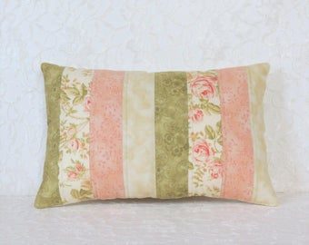 Peach's and Cream Quilted Pillow