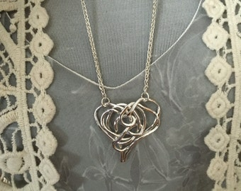 You've Got Me Wrapped - 999 Fine Sterling Silver Hand created - One of a Kind -  Heart pendant with Sterling silver wheat Chain