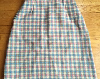 Baby Blue and Pink Plaid Wool Skirt Mod Pinup Retro Size Small S