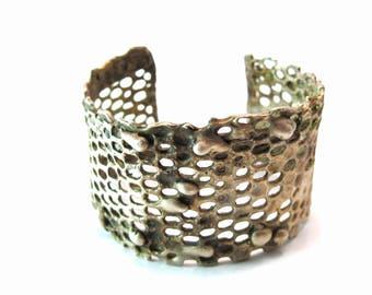 Modern Honeycomb Oxidized/High Gloss .925 Sterling Silver Cuff