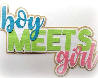 boy meets girl  title  premade paper piecing 3d die cut by my tear bears kira for scrapbooking cards