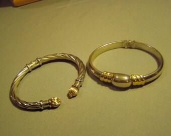 Lot Vintage Hinged Bangle Bracelets Sterling Silver 14K Yellow Gold Cable Design 8941