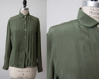 Vintage Olive SILK 70s Peter Pan Collar Pleated Blouse Button Down Front Shirt Green S