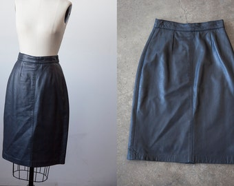 SALE 50% OFF Vintage Black Leather Mini Skirt 80s High Waist XS-S
