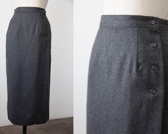 Vtg Gray WOOL Classic Slim Fitting Straight Skirt Ankle Length Wrap Charcoal Grey Minimal Minimalist XS-S